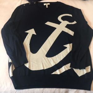 Joie Sweaters - Joie cashmere blend navy sweater w/ white anchor